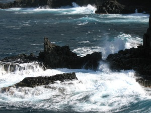 Waves breaking against the rocky shore of  inthe north of Tenerife